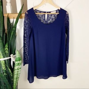 Altar'd State lacce sleeves nay blue mini dress S